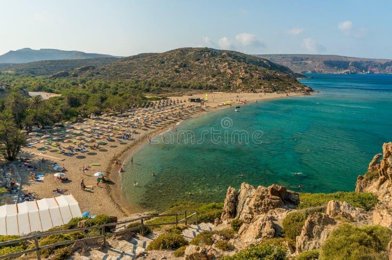 Palmtrees Vai приставают к берегу на острове Крита в Греции стоковые фото