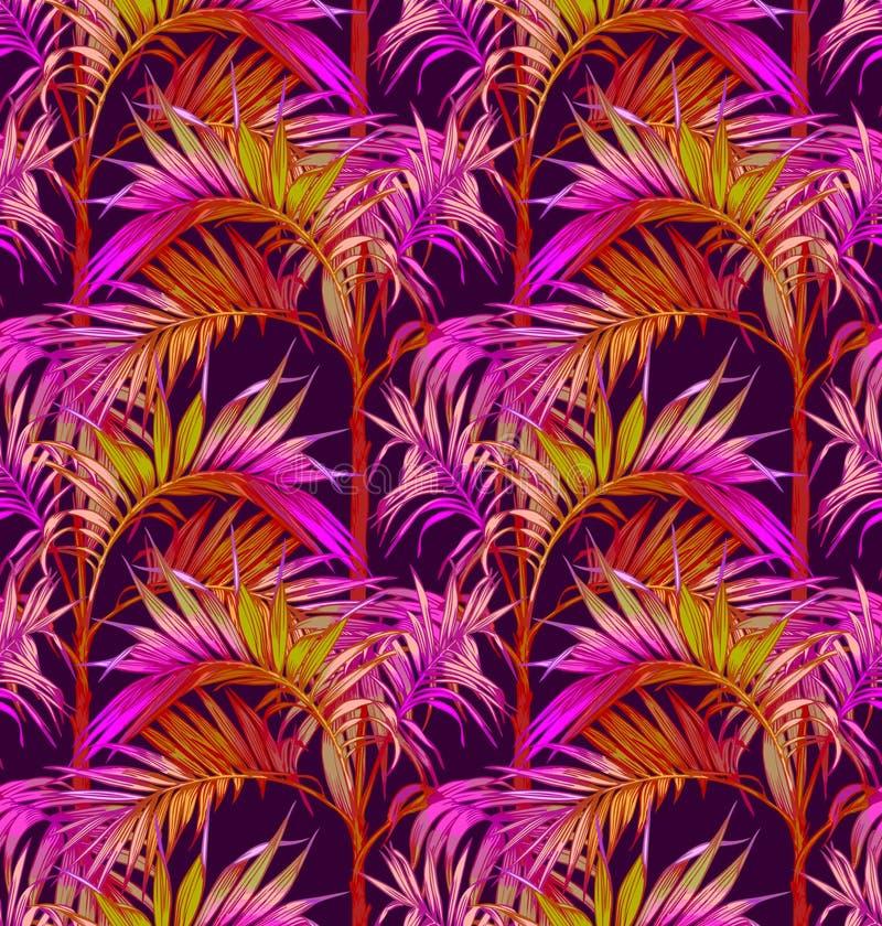 palmy bezszwowy deseniowy Tropikalni liści tła royalty ilustracja