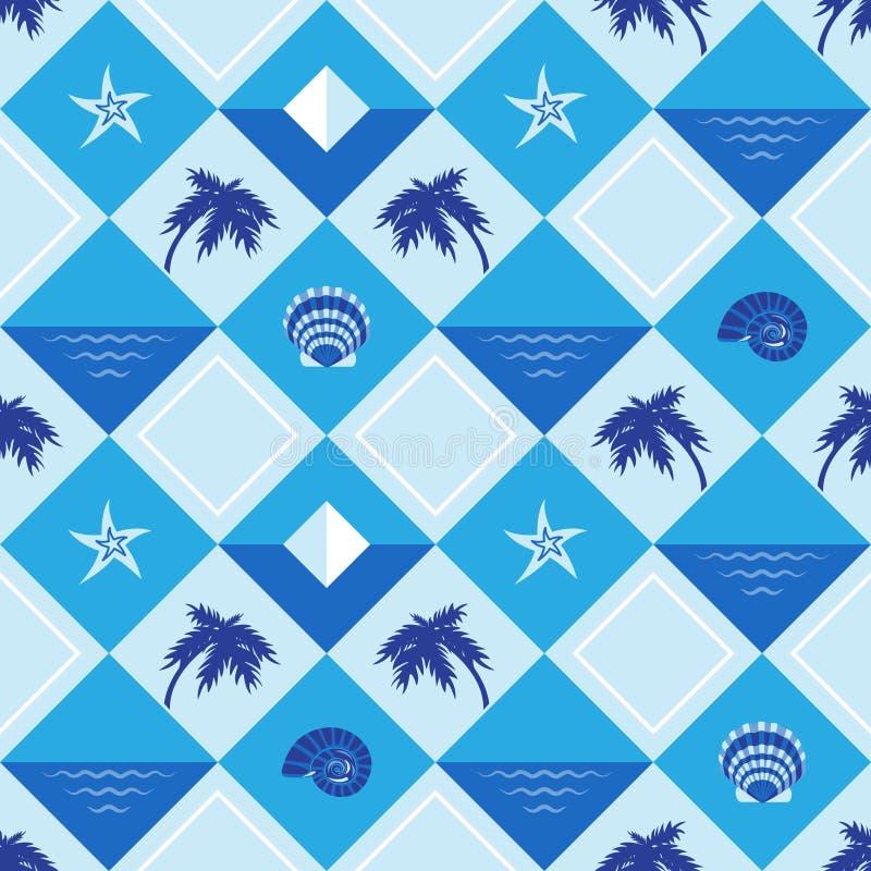 Palmy, gwiazdy, widzią, clamshell bezszwowa tekstura royalty ilustracja