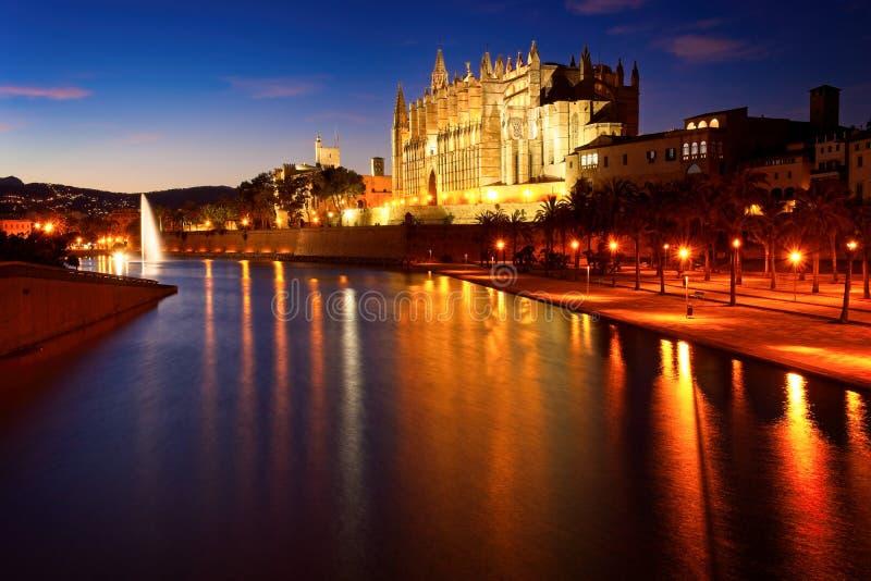 Palmy katedra iluminuj?ca przy p??mrokiem z jeziorem, fontann? i odbiciami na wodzie, Mallorca, Spain zdjęcie royalty free
