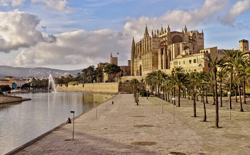 Palmy katedra, jezioro i fontanna, piękny niebieskie niebo z chmurami, drzewka palmowe, Mallorca, Spain fotografia stock