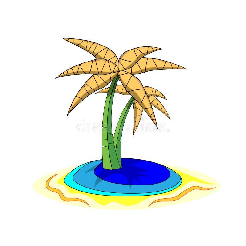 Palmy na wyspie, kreskówki odosobniony na białym tle ilustracja ilustracji