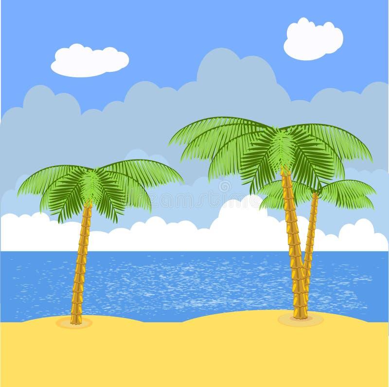 Palmy plaża royalty ilustracja