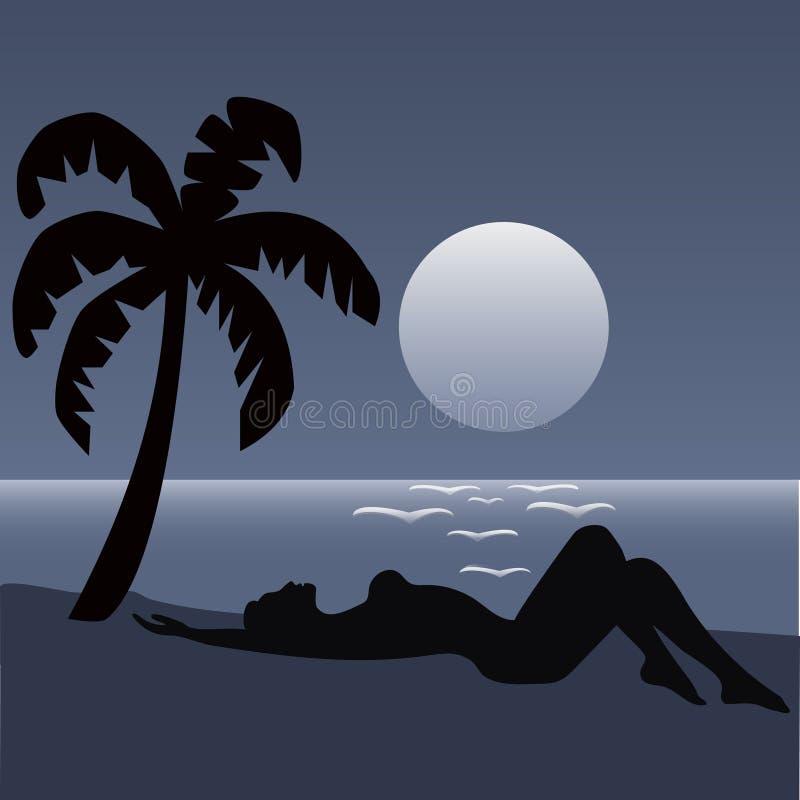 Palmy plażowa noc obraz stock