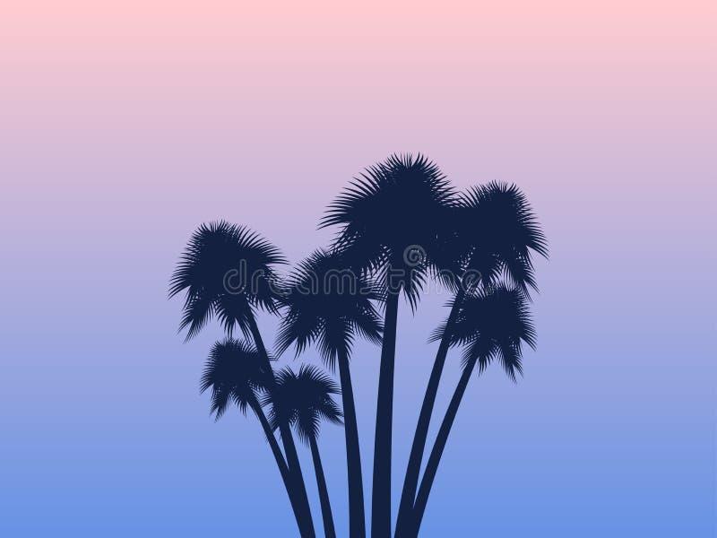 Palmy tropikalny krajobrazu Różany kwarc i spokoju gradientu tło egzotyczni drzewa wektor ilustracja wektor