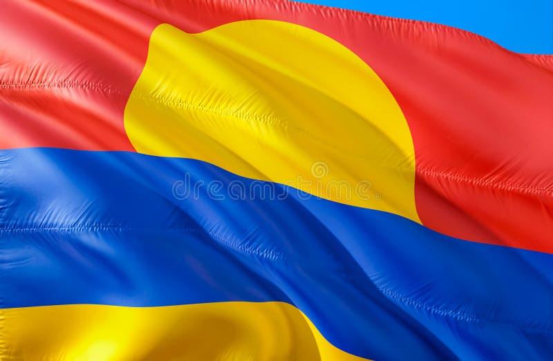 Palmyra atolu flaga 3D falowania usa stanu flagi projekt Obywatel USA symbol Palmyra atolu stan, 3D rendering kolor krajowych zdjęcie stock
