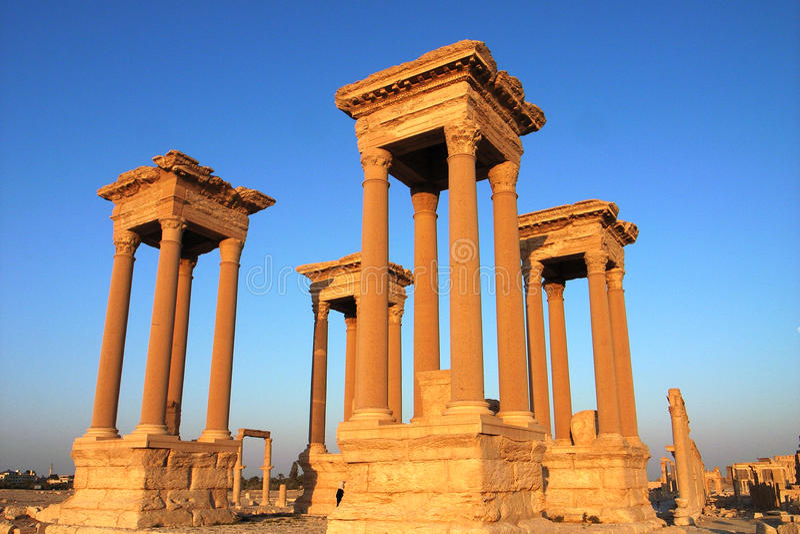 Palmyra towers stock images
