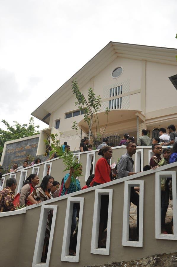 Palmzondag in Batam, Indonesië royalty-vrije stock afbeelding