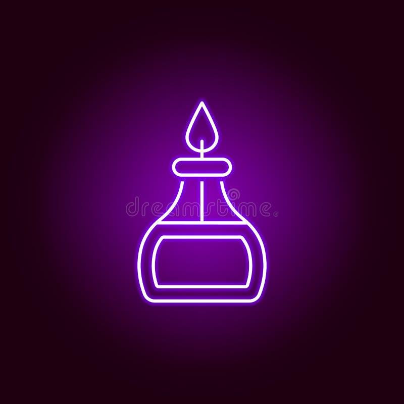 Palnik ikona Elementy nauki ilustracja w fio?kowej neonowej stylowej ikonie Znaki i symbole mog? u?ywa? dla sieci, logo, mobilny  ilustracji