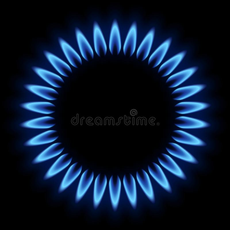 Palnik z płomienia gazem naturalnym na czarnym tle ilustracja wektor