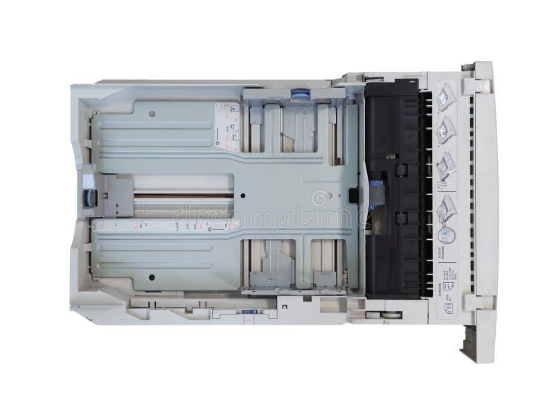 PALO ALTO - AUG 2019: Cassetto carta stampante laser HP fotografie stock libere da diritti