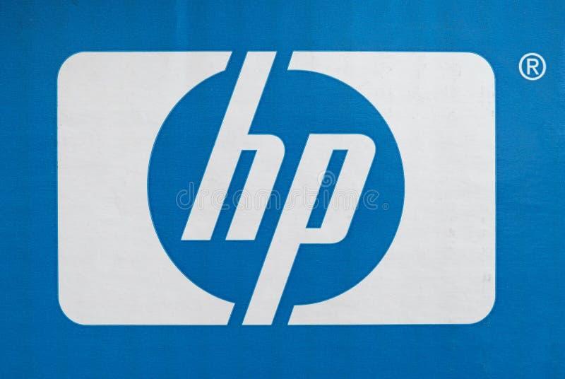 PALO ALTO - AUG 2019: HP-teken stock foto