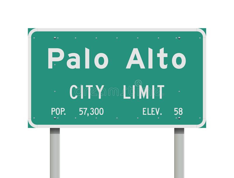Palo Alto City Limit road sign. Vector illustration of the Palo Alto City Limit green road sign vector illustration