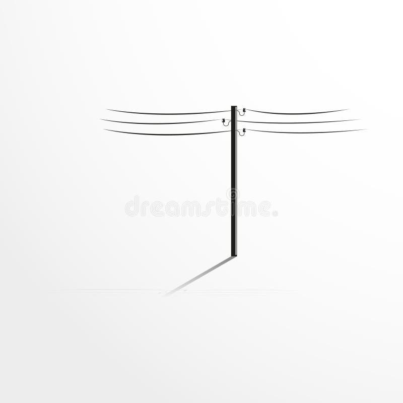 Palo con i cavi Illustrazione di vettore fotografia stock