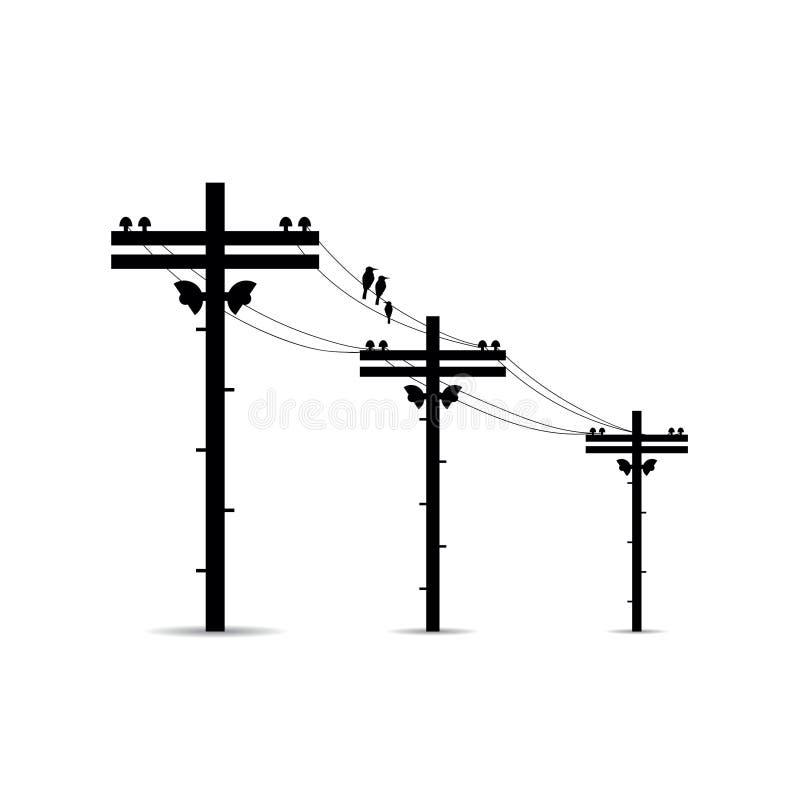 Palo con le linee elettriche ad alta tensione vettore illustrazione vettoriale