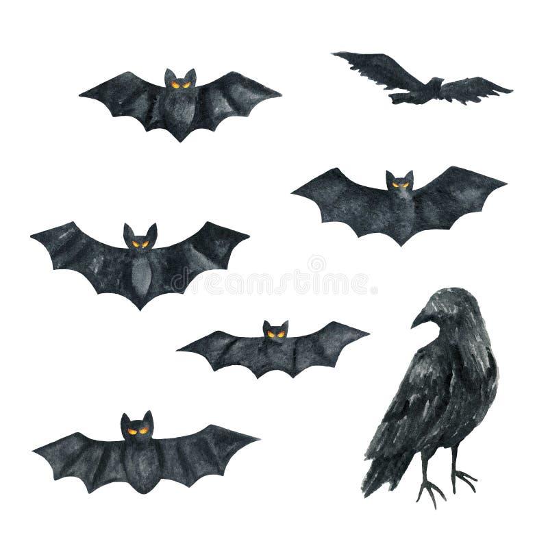 Palo, cuervo Ejemplo del partido de Halloween Gráfico de la acuarela stock de ilustración