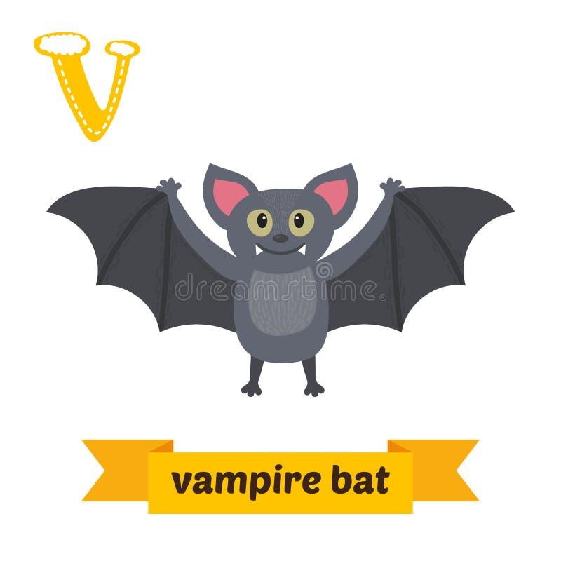 Palo de vampiro Carta V Alfabeto animal de los niños lindos en vector stock de ilustración