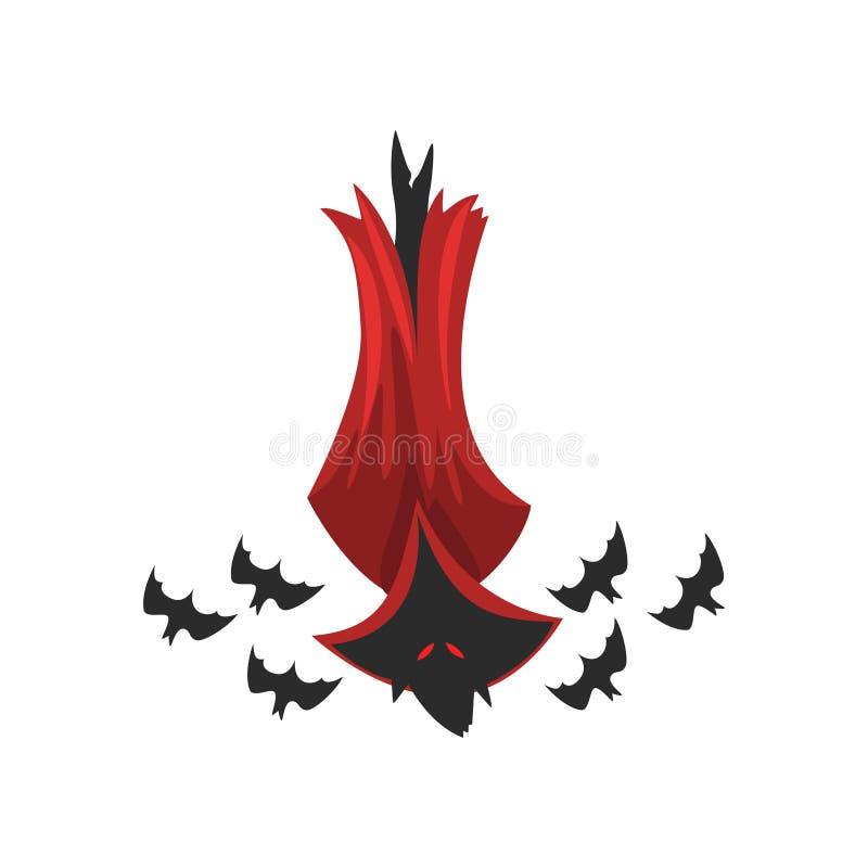 Palo de vampiro espeluznante en el ejemplo rojo del vector del cabo en un fondo blanco libre illustration