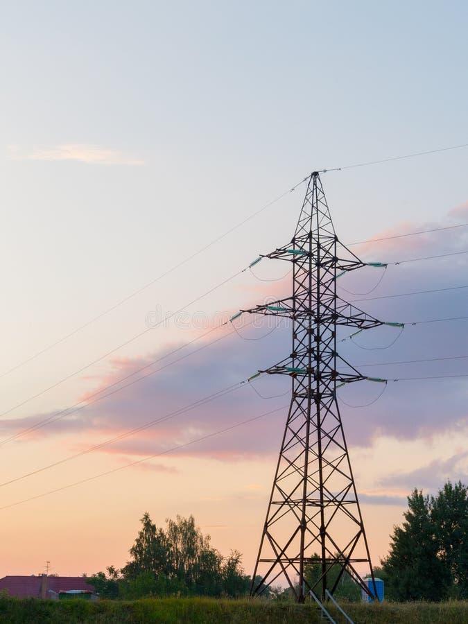 Palo del poder en la puesta del sol foto de archivo libre de regalías