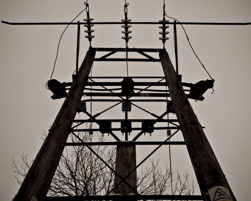 Palo di legno di elettricità, Wiltshire, Inghilterra fotografie stock libere da diritti