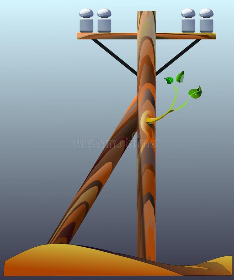 Palo di telegrafo di legno royalty illustrazione gratis