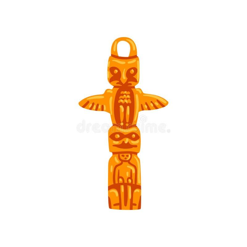 Palo di totem, simbolo di civilizzazione di maya, illustrazione tribale americana di vettore dell'elemento della cultura su un fo illustrazione di stock