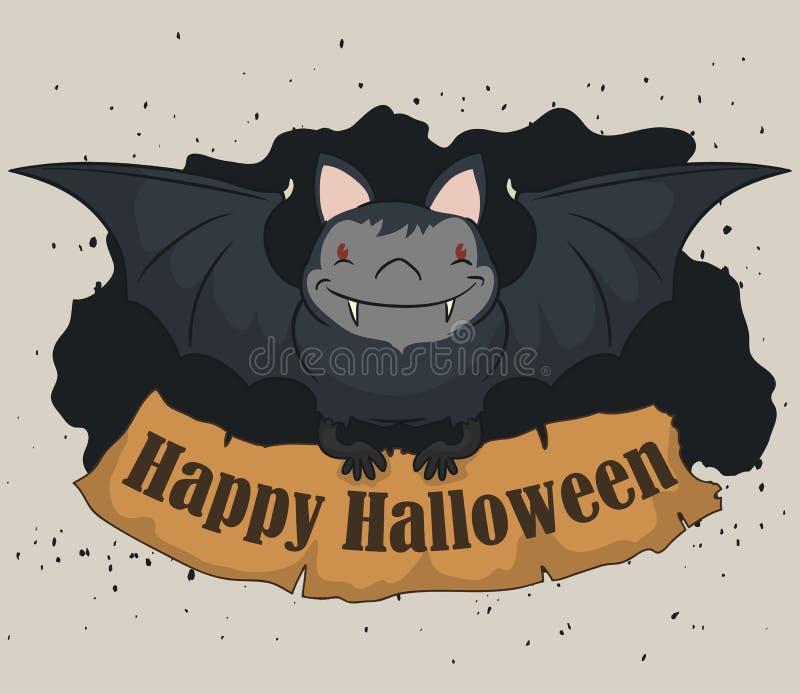 Palo feliz con la muestra de Halloween, ejemplo del vector libre illustration