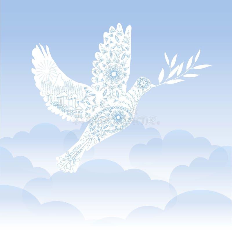 paloma blanca ornamental estilizada con la rama de olivo