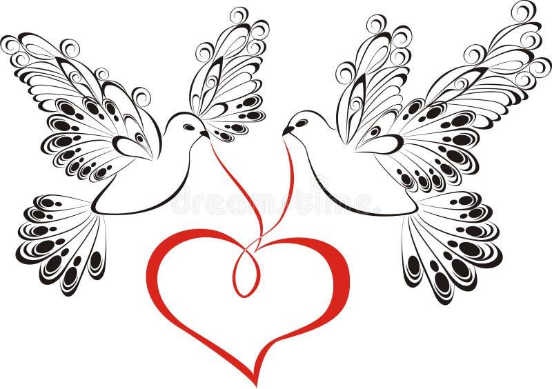Paloma con en forma de corazón stock de ilustración