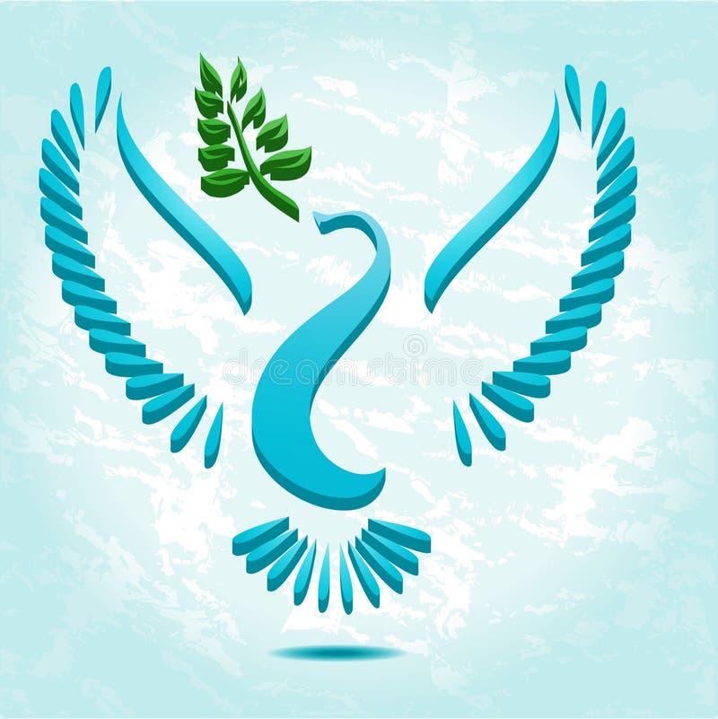 Paloma con la rama de olivo ilustración del vector