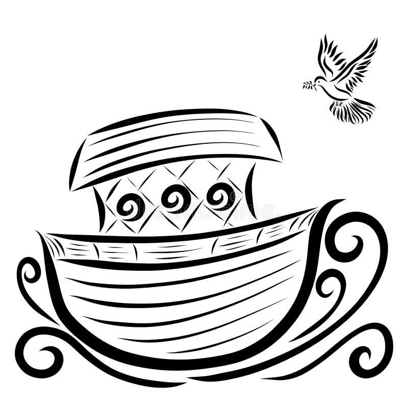 Paloma con un vuelo de la puntilla a la arca stock de ilustración