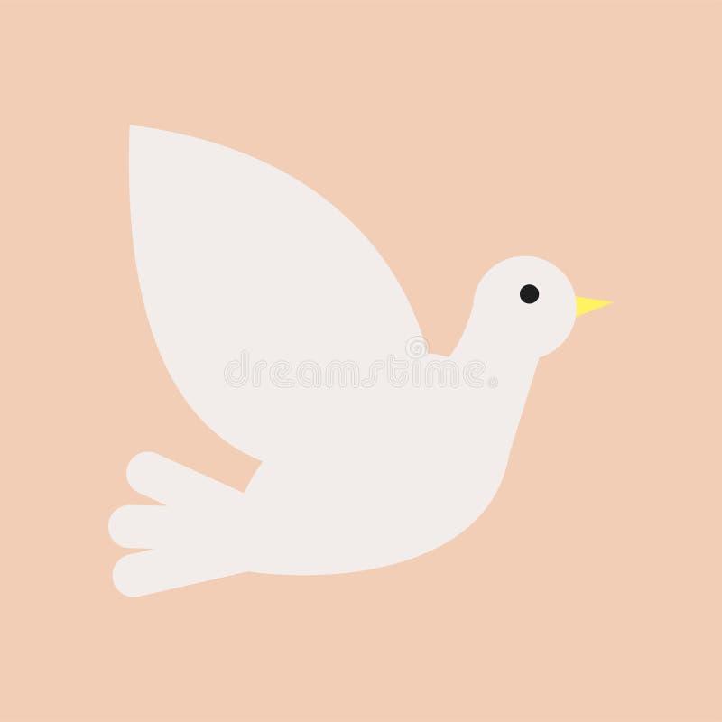 Paloma cristiana del blanco Símbolo del Espíritu Santo y de la paz Icono plano aislado del vector Elemento del diseño para la igl stock de ilustración