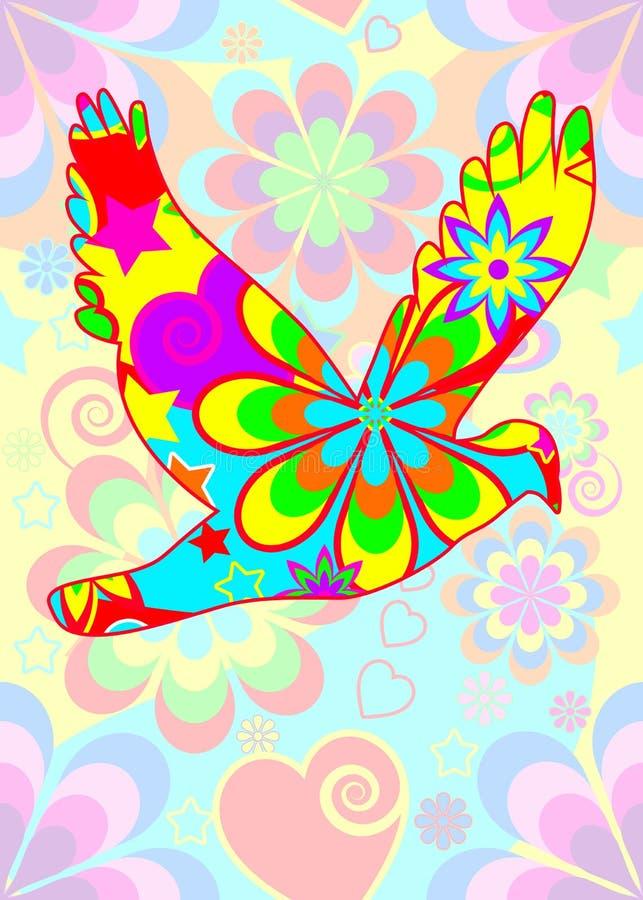 Paloma de potencia de flor stock de ilustración
