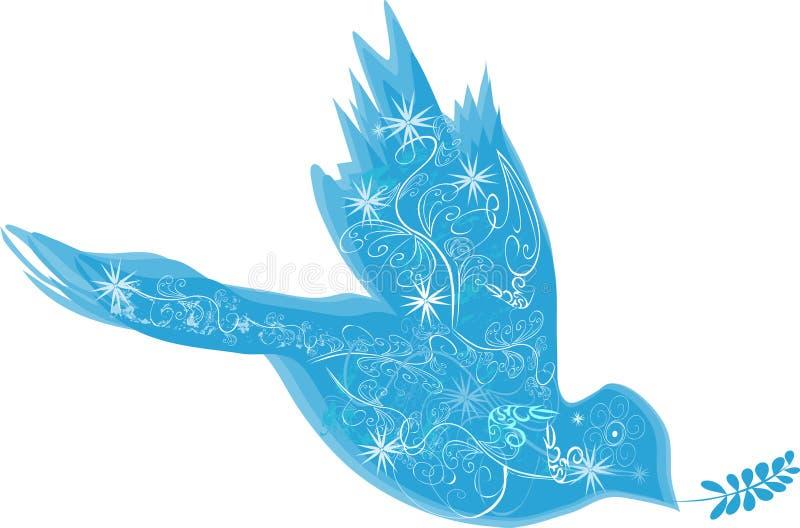 Paloma decorativa azul stock de ilustración
