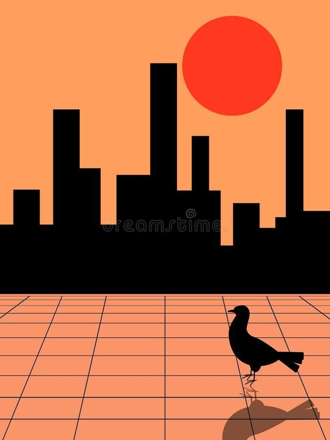 Paloma en la ciudad ilustración del vector