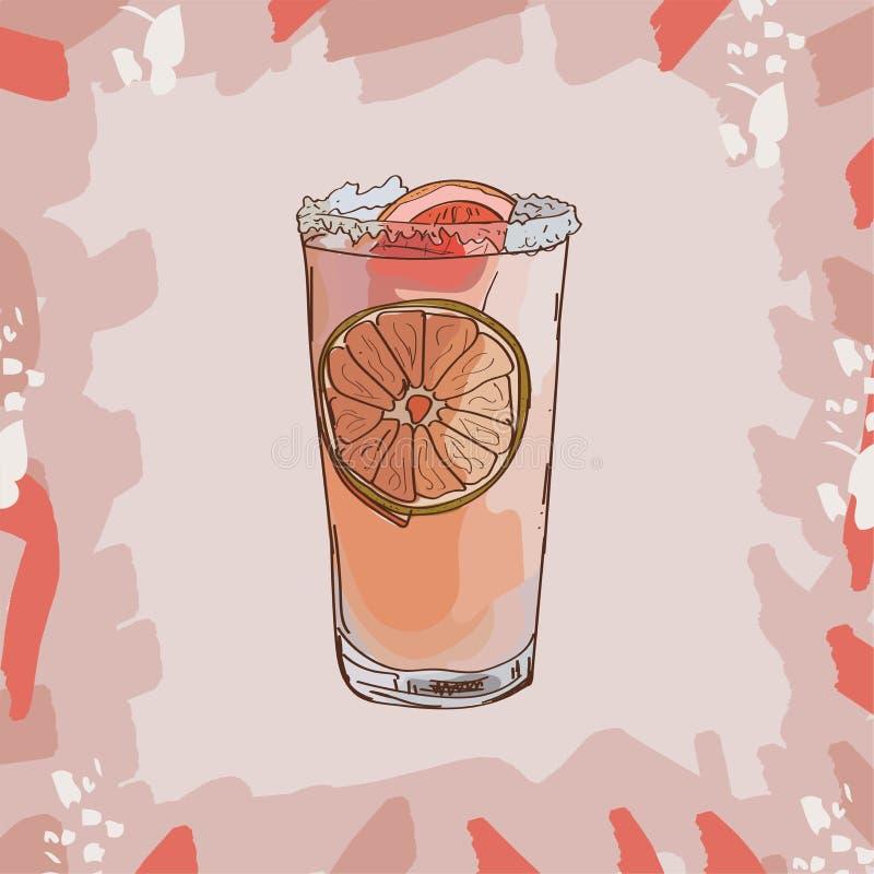 Paloma lata koktajlu ilustracja Alkoholiczna ręka rysujący klasyka baru napoju wektor Wystrzał sztuka ilustracja wektor