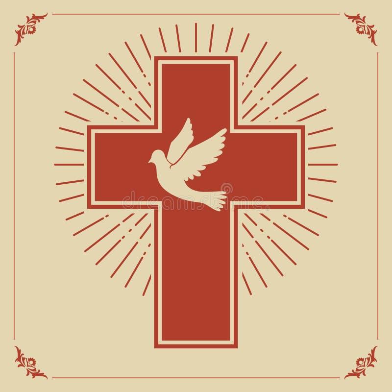 Paloma y cruz stock de ilustración