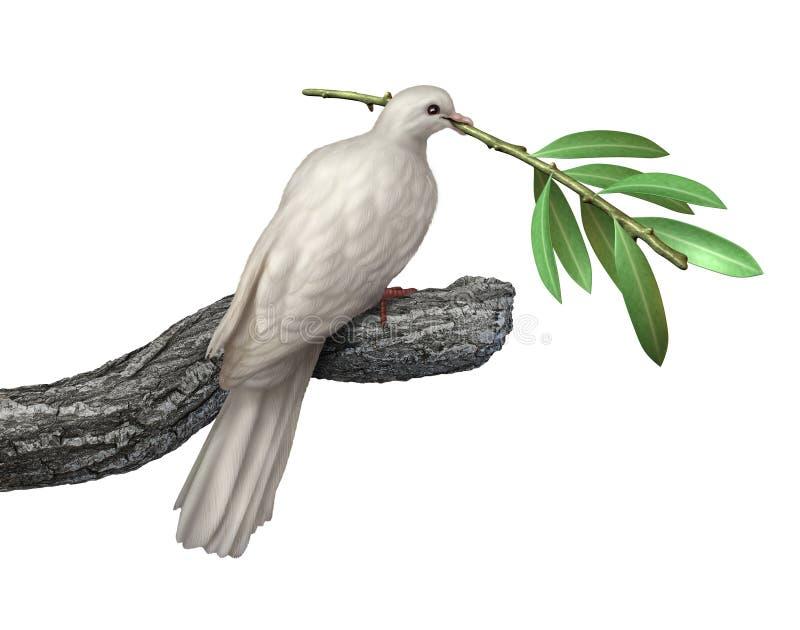 Paloma y rama de olivo ilustración del vector