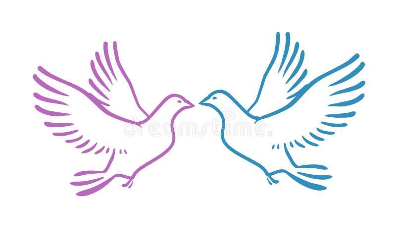 Palomas blancas como amor o paz del concepto ejemplo abstracto del vector stock de ilustración