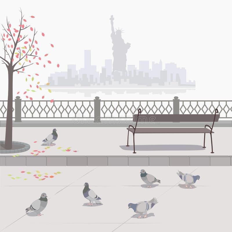 Palomas en el terraplén Otoño en Nueva York libre illustration
