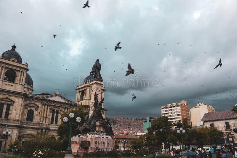 Palomas que vuelan sobre la plaza Murillo en Bolivia imágenes de archivo libres de regalías