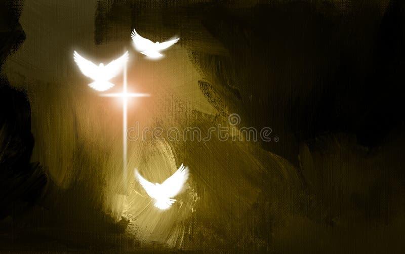 Palomas y cruz espirituales de la salvación ilustración del vector