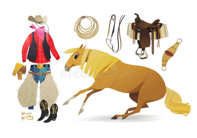 Palomino horse and cowboy essential apparel vector illustration