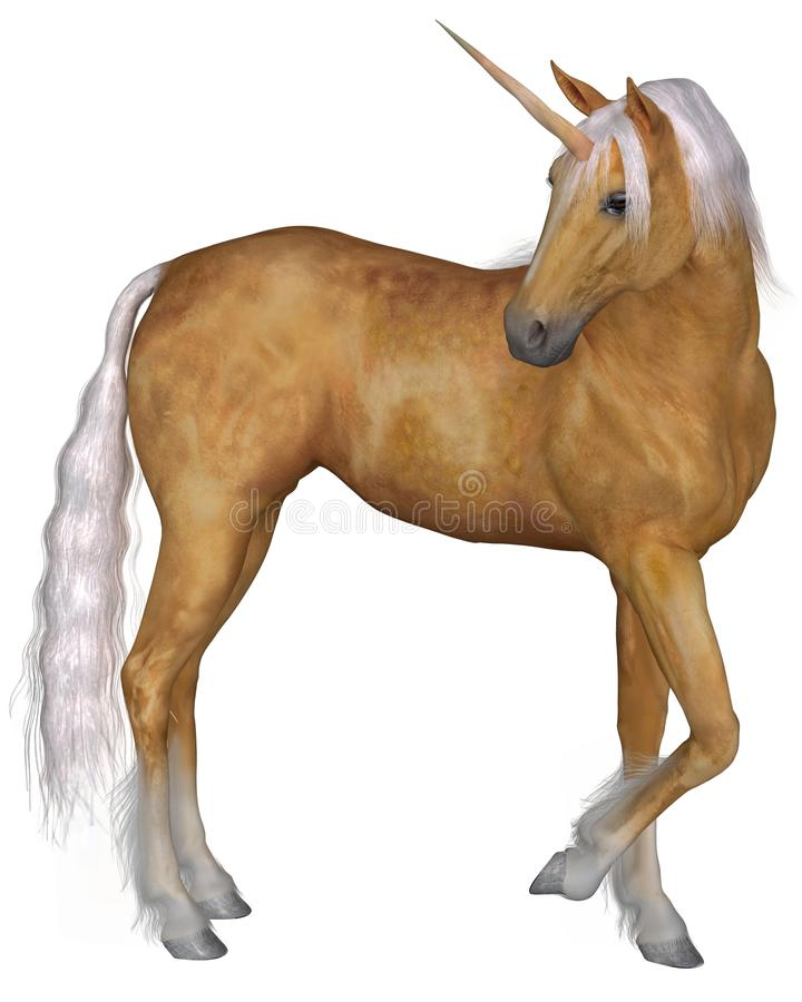 Palomino Unicorn - Turning. Magical palomino unicorn with golden horn and silver mane and tail turning against a white background, 3d digitally rendered stock illustration