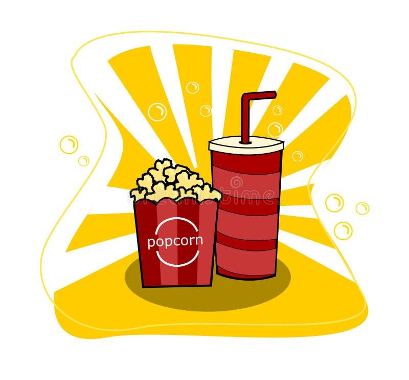 Palomitas de maíz del cine con la taza de soda y de vector amarillo del fondo stock de ilustración