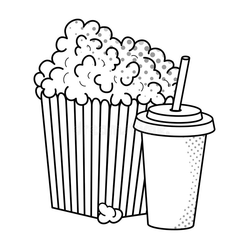 Palomitas de ma?z y soda blancos y negros libre illustration