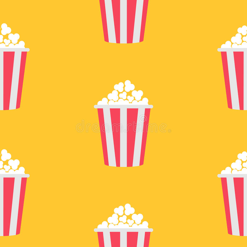 Palomitas inconsútiles del modelo Icono del cine Fondo amarillo Textura de la comida Diseño plano stock de ilustración
