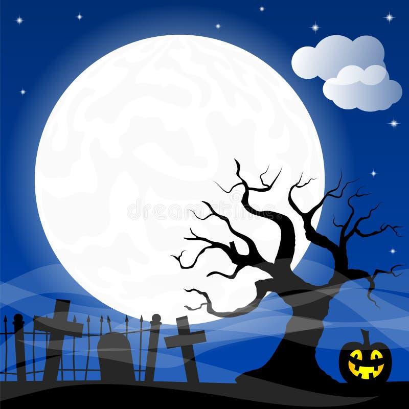 Palos contra la Luna Llena ilustración del vector