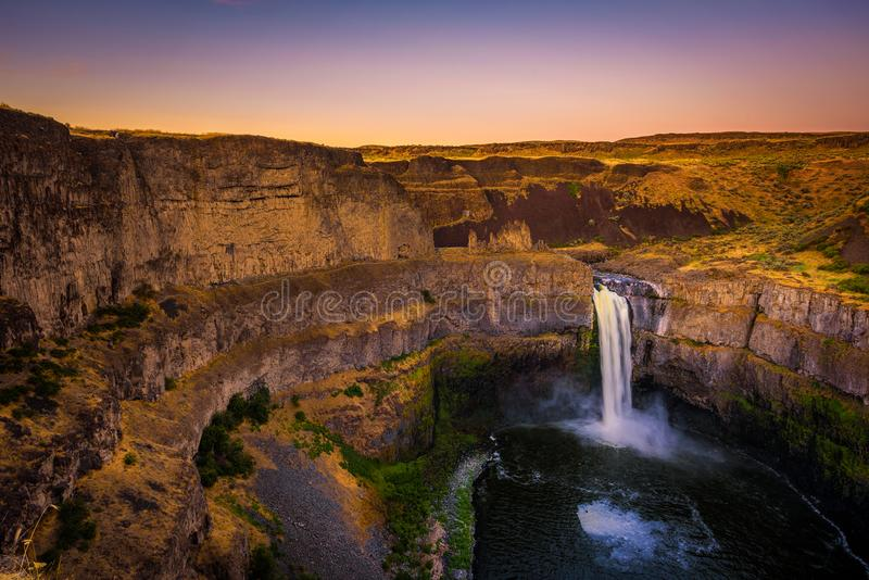 Palouse Falls in Washington state, USA, photographed at sunset royalty free stock photography