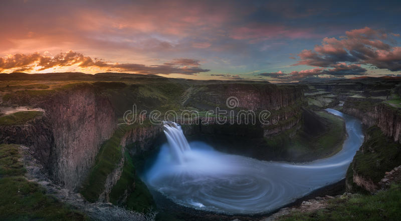 Palouse Falls sunrise. This is a panoramic view of Palouse Falls at sunrise hour stock images